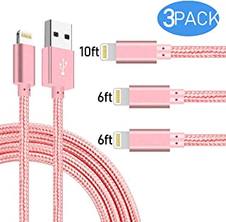 Boost Extra Long Phone Charger [3-Pack 6FT 6FT 10FT] Nylon Braided USB Charge & Sync Cable Cord Compatible with iPhone X Case/8/8 Plus/7/7 Plus/6/6s Plus/5s/5,iPad Mini Case - Pink