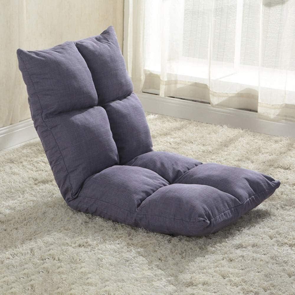 chaise FHW Sol Coussin de Sol avec Lazy Sofa Dossier Amovible et Lavable Pliable Simple étage 5 Gears réglablee président méditation (Color : Sea Cyan) Purple