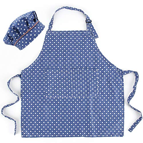 CRJHNS Kids Apron and Chef Hat Set, Adjustable Cotton Child Aprons with 2 Pockets Cute Girls Kitchen Bib Aprons for Cooking Baking Painting