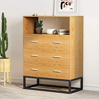 3-Drawer Chest, LITTLE TREE Drawer Dresser with Open Storage, Works as File Cabinet, Office Cabinet for Bedroom or Office (Oak)