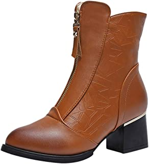 Women's Metal Ring Round Toe Ankle Booties Low Block Heel Faux Suede Short Boots with Zipper