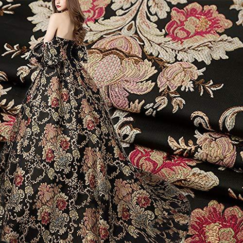 Tela de jacquard con diseño floral, color negro, estilo vintage, tela de damasco para barro, tren, vestido de noche, vestido de graduación, 147,32 cm de ancho