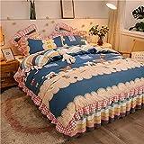 ALRZ Juego de falda de cama de 4 piezas con falda de cama coreana de 3 piezas