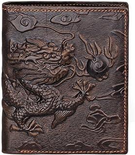 Portafoglio in pelle di alta qualità con porta carte di credito da uomo, marrone. Motivo: drago marrone Brown m