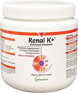 Vetoquinol Renal K+ (Potassium Gluconate) Potassium Supplement Powder for Dogs and Cats, 3.5oz