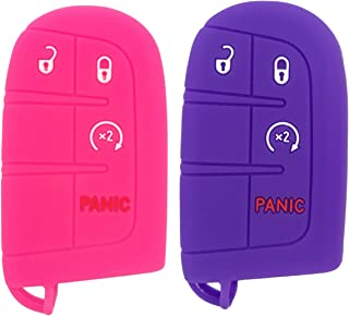 Coolbestda 2Pcs Rubber 4 Buttons Smart Key Fob Remote Cover Case Protector Keyless Jacket for Dodge Durango Journey Dart Challenger Jeep Renegade Fiat