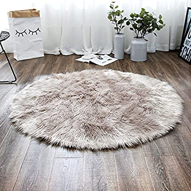LEEVAN Plush Sheepskin Style Throw Rug Faux Fur Elegant Chic Style Cozy Shaggy Round Rug Floor Mat Area Rugs Home Decorator Super soft Carpets Kids Play Rug, Coffee 3 ft Diameter