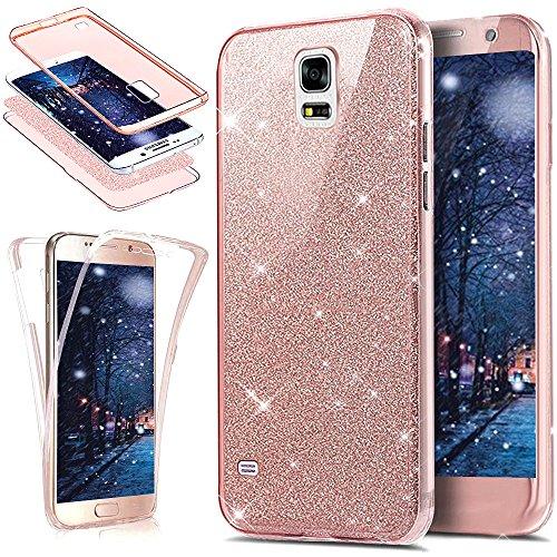 Cover Galaxy S5,Cover Galaxy S5 Neo,ikasus Cristallo lusso Bling scintillio lucido 360°Full Body Cover Silicone Case Molle TPU Trasparente Sottile Case Cover Custodia per Galaxy S5/S5 Neo,Oro rosa