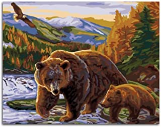 WZXHN Painting by Numbers Bear Mother Mother Love Painting by Numbers Coloring by Numbers Living Room Wall Art