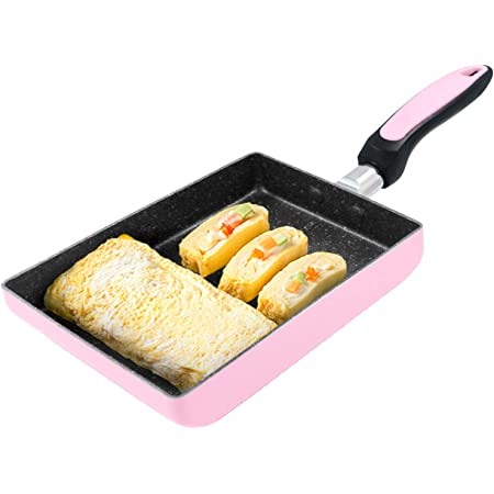 IAXSEE Tamagoyaki Pan Japanese Omelette Pan, Non-stick Coating Square Egg Pan to Make Flawless Omelets or Crepes 5.1×7.1Inch (Pink)