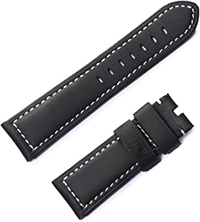 Reef Tiger/RT Mens Black Leather Watch Strap with Buckle for Sport Watches Band for Men RGA3503 RGA3532