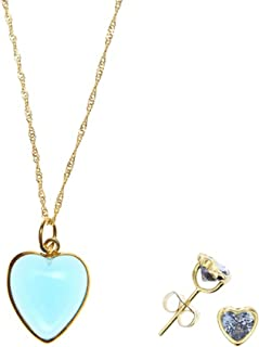 Córdoba Jewels   Set di Collana e Orecchini in argento Sterling 925placcato oro. Motivo cuore zirconium Acqua Marina Oro