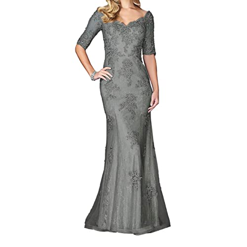 971add376a4 Graceprom Women s Elegant Lace Appliques Mermaid Evening Dresses Half  Sleeves Mother of The Bride Dresses Silver