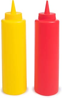 Ketchup and Mustard Squeeze Bottle Combo Pack   2-pack 16-oz Red & Yellow Plastic Kitchen Table Condiment Squirt Dispensers   Restaurant Supplies for Food Truck, Grilling, Dressing, BBQ Sauce, Crafts