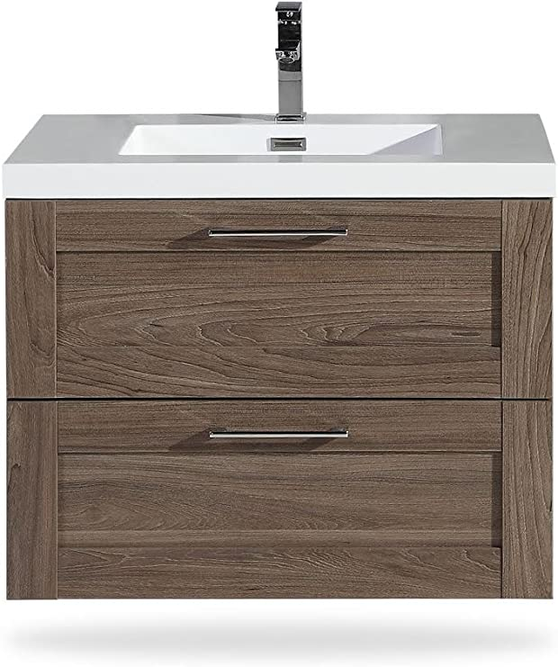 Bathroom Vanity Cosmo 30 Inch Elm Includes Wall Mounted Cabinet With 2 Large Metal Drawers And White Countertop With Integrated Sink Assembled Vanity By Flairwood Decor Amazon Com