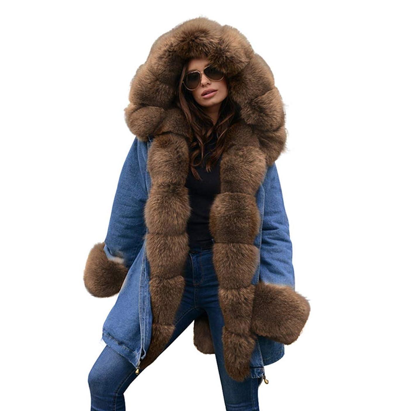 後建築ネックレット厚手フード付きジャケット女性ウィンターフェイクファーカラーコートコットンパットオーバーコートロングコートパーカスパーカ,S