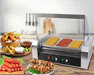 Safstar Commercial 18 Hot Dog 7 Roller Machine Stainless Steel Non Stick Electric Hotdogs Grilling Cooker Appliances with Cover (1 Pack)