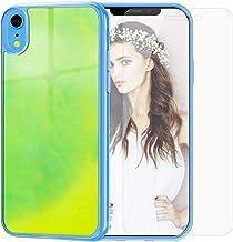 SanLead Funda Luminosa para iPhone XR, Caja de Teléfono Protectora Líquida de Neón Arenas Movedizas Protección Engrosada a Prueba de Golpes y Arañazos Soporte de Carga Inalámbrica (Amarillo y Verde)