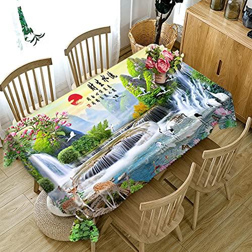 XXDD Mantel 3D Bienvenido Pino Cascada Paisaje patrón Mantel Rectangular decoración del hogar A4 150x210cm