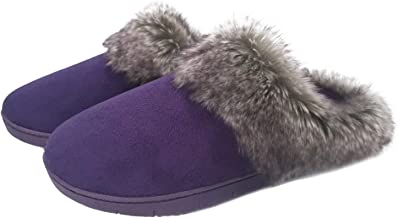 SOLOSMART Women's Indoor Slippers Micro Suede Upper with Faux Fur Collar,Memory Foam Insole & Anti-Slip TPR Outsole