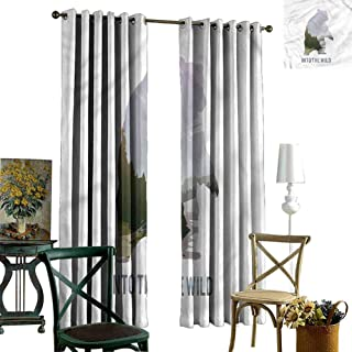 Window Treatments Draperies for Bedroom Cabin,Wild Animals Canada Hunting Fabric Black Out Window Curtain 84 x L84 Inch