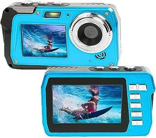 Waterproof Camera 2.7K Underwater Cameras 48 MP Waterproof Camcorder Camera Dual Screen TFT Displays Selfie Video Recorder Waterproof Digital Camera with Flash Light, Blue