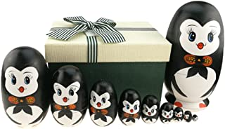 Lovely Penguin With Bowtie Egg Shape Handmade Wooden Russian Nesting Dolls Matryoshka Doll Set 10 Pieces in a Exquisite Gift Box With Bow For Home Decoration Kids Toy Birthday Christmas Easter Gift