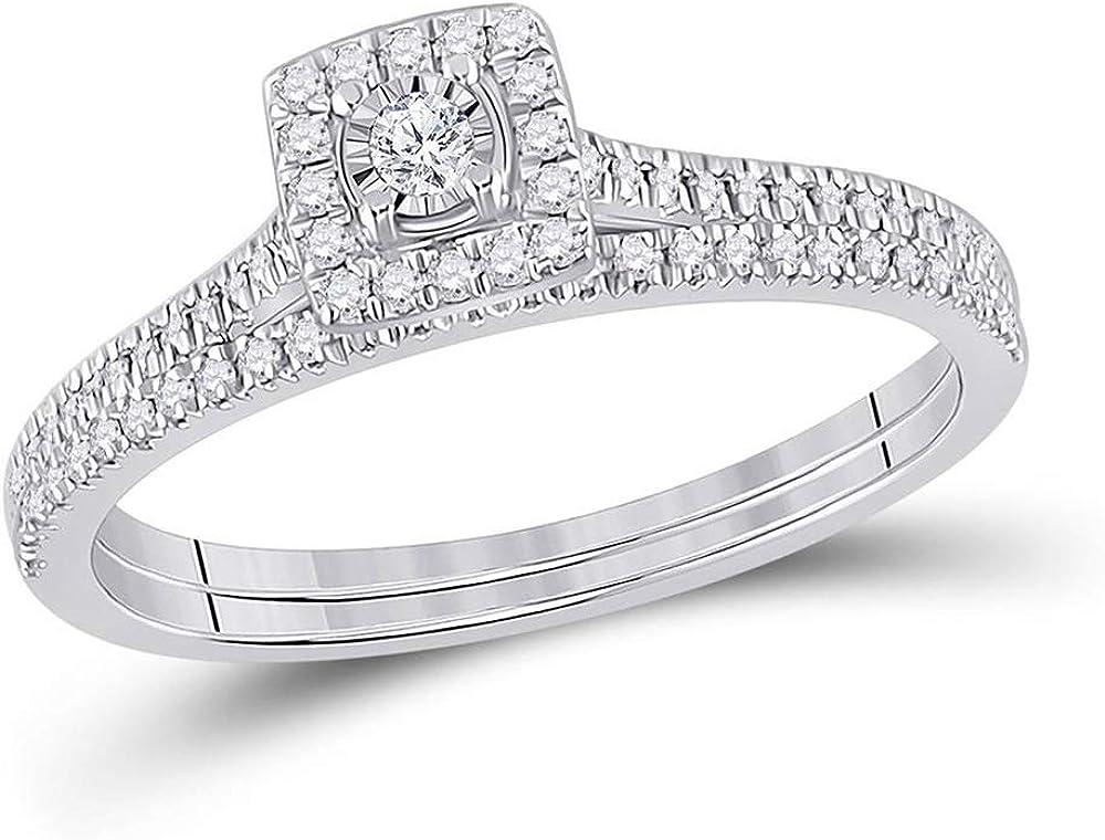 10kt White Gold Round Diamond Halo Bridal Wedding Ring Band Set 1/4 Cttw