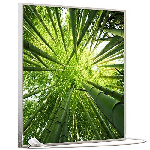 STEINFELD Bild Infrarotheizung mit Thermostat | Made in Germany | viele Motive 350-1200 Watt Rahmen silber (350W, 023h Bambusbaum)