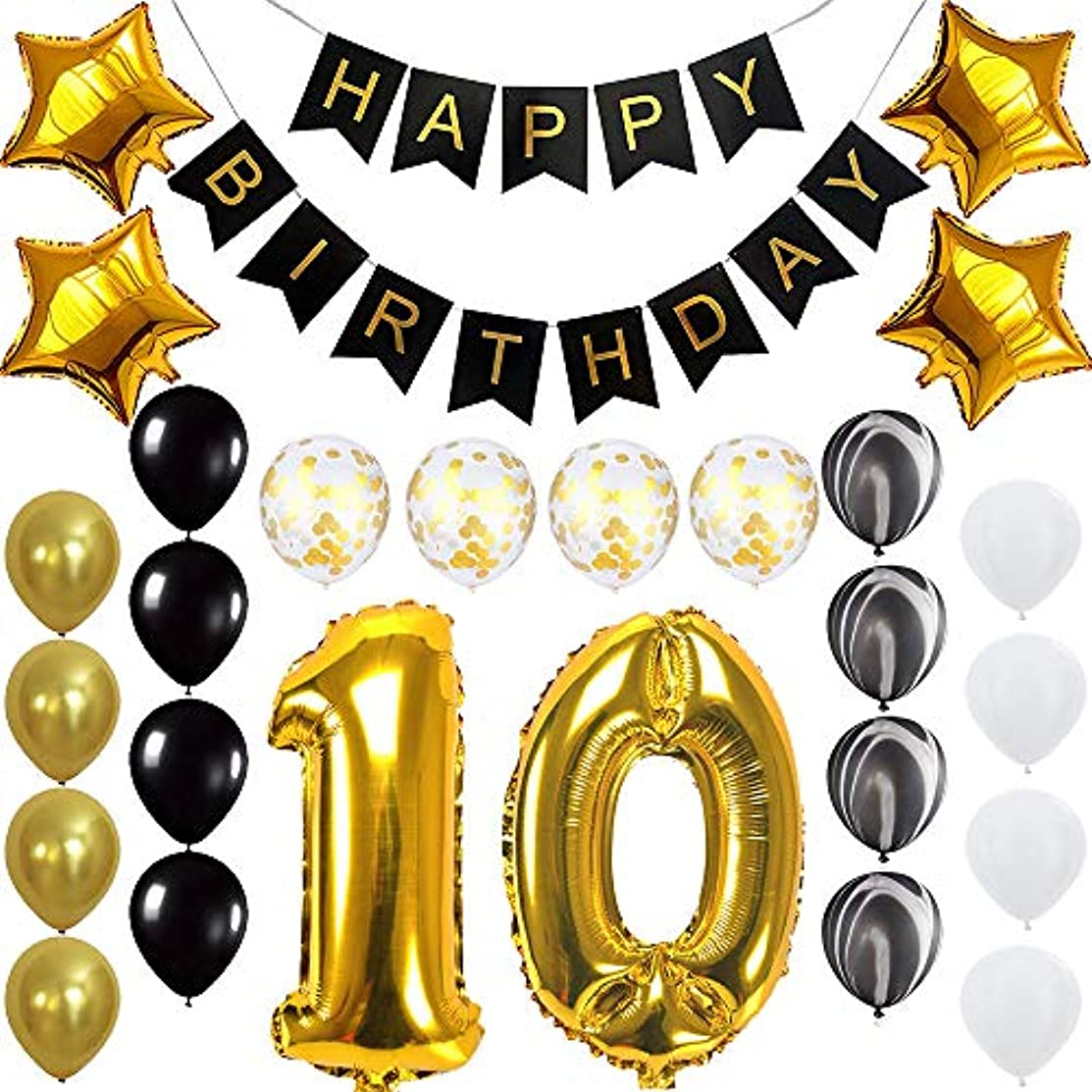 Happy 10th Birthday Banner Balloons Set for 10 Years Old Birthday Party Decoration Supplies Gold Black