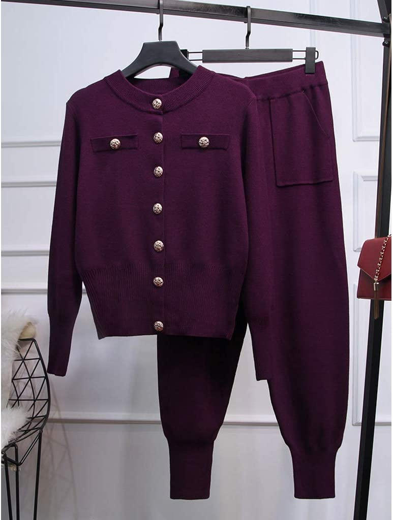 UXZDX Autumn Two Piece Set Women Sweater Sets Suits Fashion Customes Cardigans+Long Pants Track Suits Winter Woman Knitted Suit (Color : B, Size : Medium)