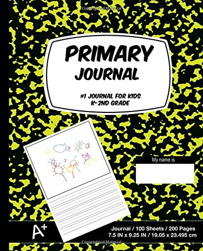Primary Journal: Yellow and Black Marble, Composition Book, Draw and Write Journal, Unruled Top.5 Inch Ruled Bottom Half