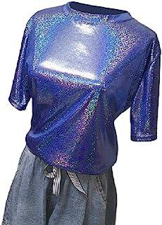 HEFASDM Women's Short Sleeve Sparkly Summer Tees Shiny Crew-Neck T-shirts
