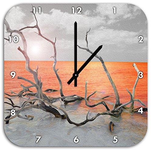 Stil.Zeit Treibgut am Meer schwarz/weiß, Wanduhr Quadratisch Durchmesser 48cm mit schwarzen Spitzen Zeigern und Ziffernblatt