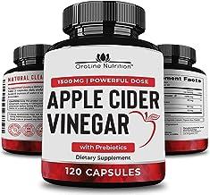 Organic Apple Cider Vinegar Capsules (120 Capsules   1500 mg) with Prebiotics   Apple Cider Vinegar Pills   Fiber Suppleme...