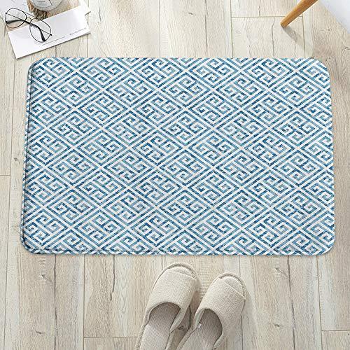 Alfombra de baño, Alfombrilla de baño de microfibra,Llave griega, patrón de mosaico de azulejos en azul y blanco con mean, antideslizante, absorbente, lavable, para cuarto de baño, salón (60 x 100 cm)