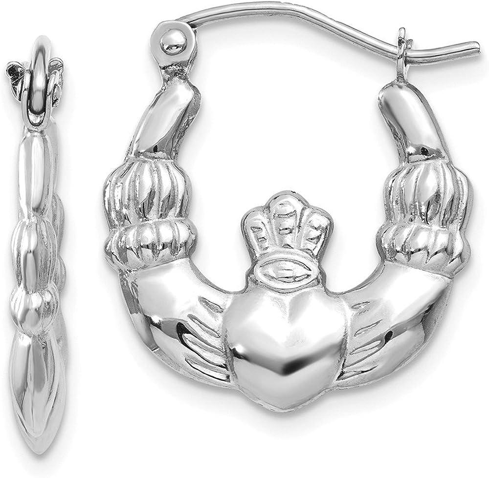 14k White Gold Irish Claddagh Celtic Knot Hoop Earrings Ear Hoops Set Fine Jewelry For Women Gifts For Her