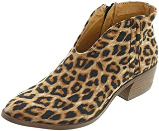 SNIDEL Womens Sexy Leopard Pumps Chunky Low Heel Slip on Party Spring Suede Shoes