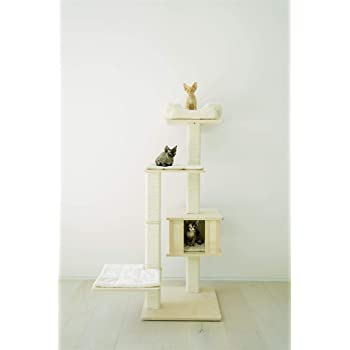 "PAWMONA 60"" Multi-Level Sturdy cat Tree condo-Made with Durable Natural Birch Wood, Square-Shaped Scratching-Posts, Covered, Natural sisal-Machine Washable-Made in Georgia-Great Gift for Cat Lovers"