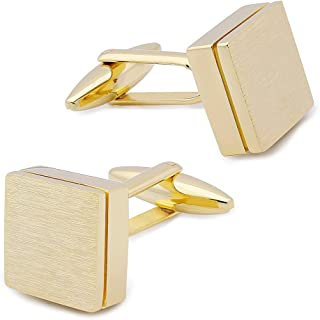 Square Cuff links for Men Tuxedo Dress Shirt Cuff Links Button Business Wedding Accessories Sliver Gold and Black Color