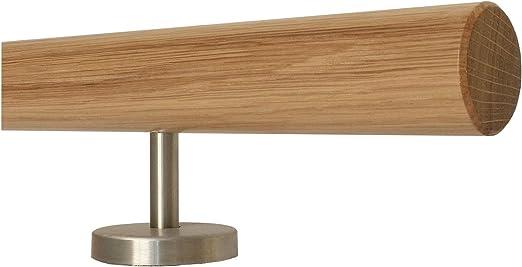 Enden =gefast L/änge 30-500 cm aus einem St/ück//zum Beispiel L/änge 240 cm mit 4 gerade Halter Eiche Holz Treppe Handlauf Gel/änder Griff gerade Edelstahlhalter