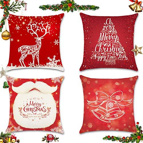 Sunshine smile 4 Stück Kissenbezug Weihnachten,Kissenbezug Frohe Weihnachten,Wohnkultur Leinen Dekokissen,Schneeflocke Rentier&Weihnachtsmann Muster,Weihnachten Deko Kissenbezug 45x45cm (G)