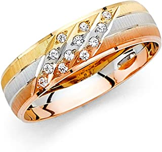 FB جواهر 14K أصفر أبيض ووردة ثلاثي اللون الذهب الرجال الصلبة مكعب زركونيا CZ 6 مم التقليدية الراحة صالح خاتم الزفاف الفرقة