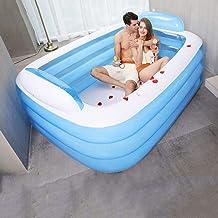ZHKGANG Aufblasbarer Pool Verdickt Erwachsenen Isolation Pool Doppel-Badewanne Dreischicht-Baby-Badewanne Spezialdruck,Blue-180  140  60cm