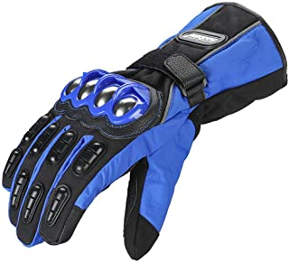 ILM Alloy Steel Motorcycle Riding Gloves Warm Waterproof Windproof for Winter Use (L, BLUE(WINTER))