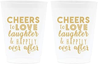 Wedding Cup Decorations - Cheers to Love Laughter and Happily Ever After, Frosted Cups, 16oz - Set of 12, Frosted and Gold - Wedding Supplies for Bridal Showers, Engagements and Bachelorette Parties