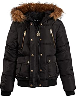 Girls' Heavyweight Quilted Bubble Jacket with Snap and Zip Closure and Removable Fur Hood