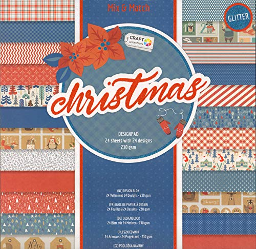 WSD Warenhandel Scrapbooking Papier Vintage Motivblock (Nr. 23 Weihnachten blau/rot) Bastelpapier 230gr/qm - 24 Motive Grösse je 30,5 cm x 30,5 cm
