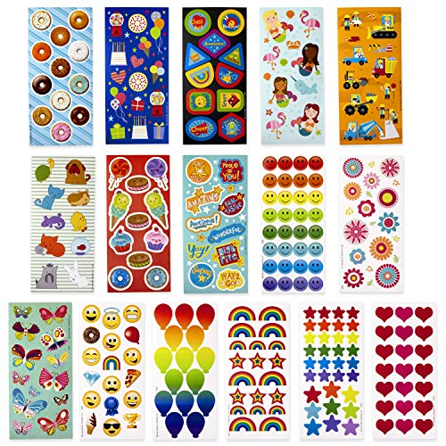 Hallmark Stickers for Kids (Pack of 258 Stickers, 16 Sheets—Mermaids, Rainbows, Hearts, Dogs, Cats, Donuts)