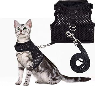 PUPTECK ハーネス 猫用 犬 ハーネス 小型犬 ハーネス リード セット 犬用 リード 胸あて式 夏用 まばらなメッシュ素材 散歩 ブラック M